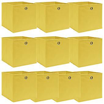 vidaXL Aufbewahrungsboxen 10 Stk. Gelb 32×32×32 cm Stoff