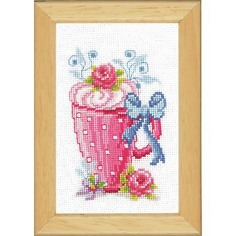 Vervaco Counted Cross Stitch Kit: Vaaleanpunainen Latte Cup & Kukkia