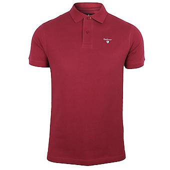 Barbour mens raspberry sports polo shirt