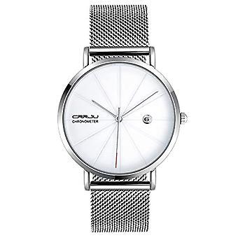 SUPBRO Ultra thin men's watches with minimalist black quartz with silver mesh strap