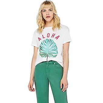 Amazon brand - find. Girocollo T-shirt with Slogan Woman, White (Aloha), 40, Label: XS