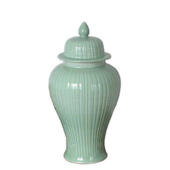European style hand carved bamboo line porcelain temple jar