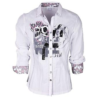 Just White White Rolled Sleeve Statement Print Fitted Boyfriend Shirt