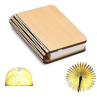 Wooden Book Lamp, Mini Book Folding Rechargeable Usb Light Rechargeable Lithium Batteries 1000mah Led Desk Table Lamp