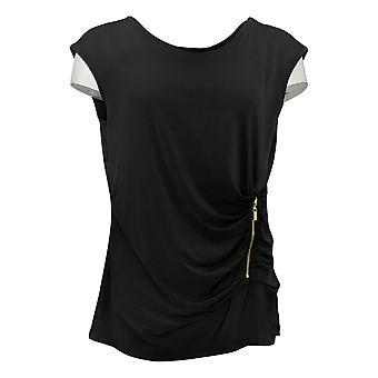 IMAN Global Chic Women's Top Reg Illusion Wrap Zipper Detail Black 735378