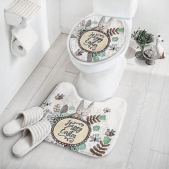 2pcs/set Cute Cartoon Carpet Non-slip Pedestal Mat Rug Lid Toilet Cover Mat