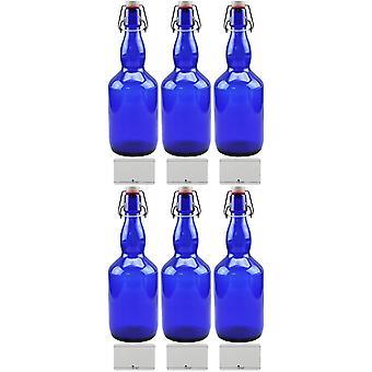 6X Blaue Glasflasche 0,75 Liter mit Bügelverschluss aus Porzellan, inkl Beschirftungsetiketten