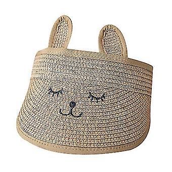 Bunny Ear Straw Sun Visor Hats Girls Kids Wide Brim Sun Hats (Marrom)