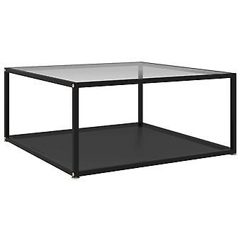 vidaXL Table basse transparent et noir 80x80x35 cm verre dur