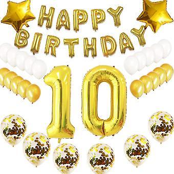 10 jahr Geburtstag Dekoration Luftballons Gold Set,10 jahr Geburtstagsdeko Gold Set mädchen damen 10