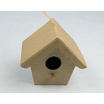 LAATSTE PAAR - Medium Papier Mache Birdhouse of Bird Box Ornamenten voor ambachten