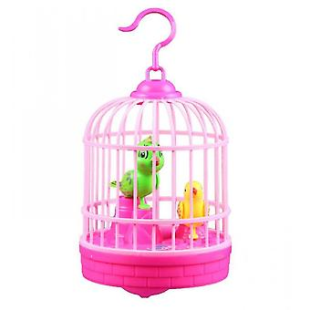 Singing And Chirping Bird In Cage Realistic Sounds Movements Bird Figurines(Pink)