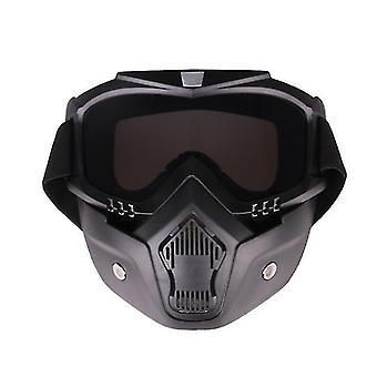 Occhiali da guida in moto con maschera facciale rimovibile (nero)