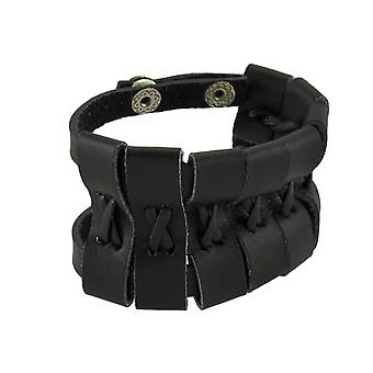 Black Leather Double Snap Wrap Bracelet Wrist Band Wristband