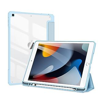 Case For Ipad 7 10.2 2019,folio Trifold Stand Smart Cover With Detachable Slim Hard Shell Transparent Back Cover - Blue