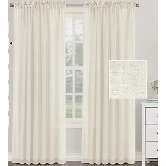 2X rideaux en lin naturel mélangés texturés drapés de rideaux en lin pur pour le salon / chambre à coucher poche filtrant la lumière, ivoire
