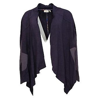 LOGO by Lori Goldstein Women's Drape Front Jacket Rib Knit Blue A267900