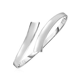 Glanzende Bypass Style Bangle in Sterling Zilver