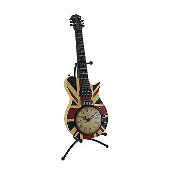British Flag Union Jack Acoustic Guitar Clock w/Display Stand