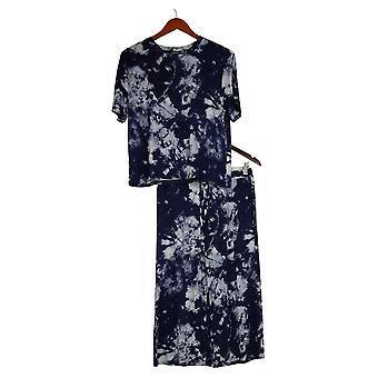Honeydew Women's Med Palazzo Pajama Set 3-piece Blue