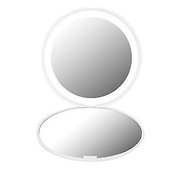 Mini luces portátiles espejo de maquillaje led 10x ampliar la mano plegable 12 leds espejo de maquillaje de bolsillo