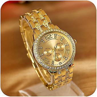Unisex Gold Alloy Crystal Rhinestone Luxury Kwarcowy Damski męski zegarek na rękę