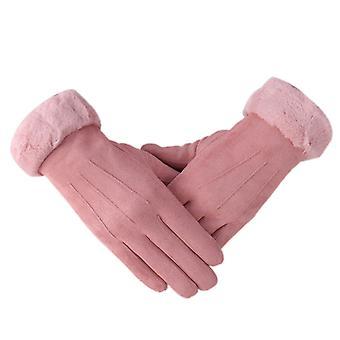 Damen Hand genäht Soft Echtes Lammfell Handschuhe Pink