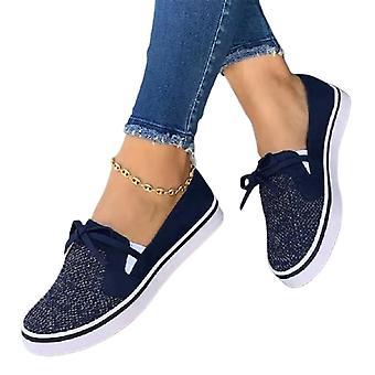 Women Lace-up Plimsolls Pumps Trainers Slip On Flat Shoes
