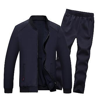Silktaa Men's 2 Piece Solid Color Zipper Long Sleeve Casual Suit