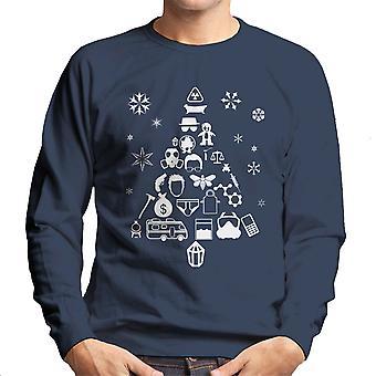 Breaking Bad kerstboom silhouet witte mannen Sweatshirt