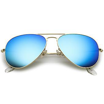 Premium-kleine klassische Matte Metall Pilotenbrille mit farbigem Spiegelglas Objektiv 57mm
