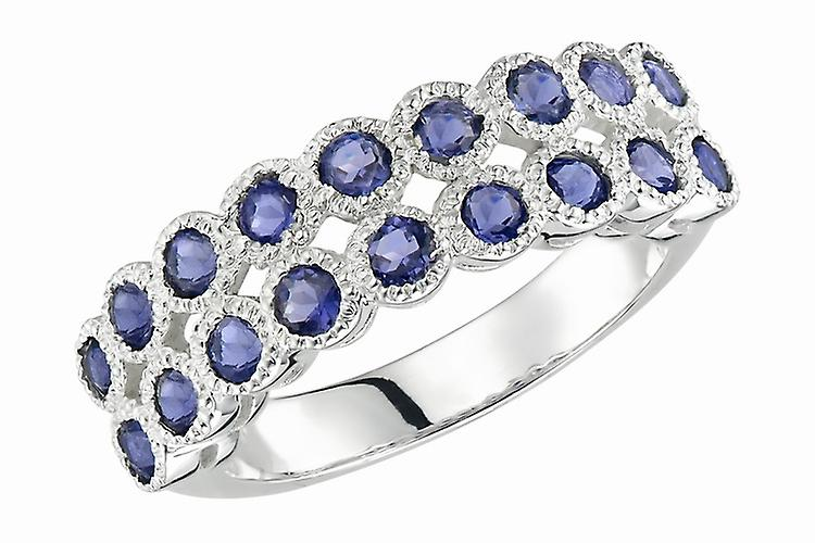 Affici Sterling Silver Half Eternity Ring  18ct White Gold Plated ~ Blue Sapphire CZ Gems