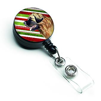 Leonberger Candy Cane Holiday Christmas Retractable Badge Reel