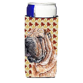 Shar Pei Fall Leaves Ultra Beverage Insulators for slim cans