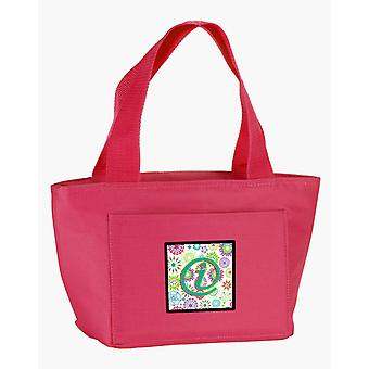 Letter I Flowers Pink Teal Green Initial Lunch Bag