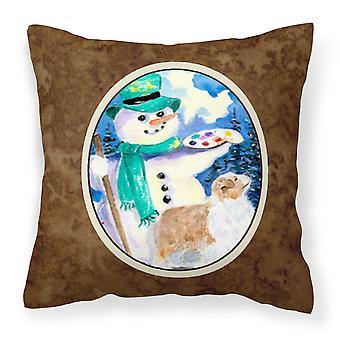 Snowman with Australian Shepherd Decorative   Canvas Fabric Pillow
