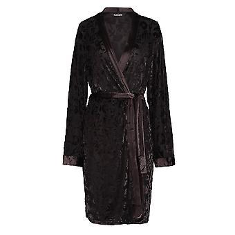 Slenderella GL8713 Women's Siyah Çiçekli Sabahlık Uzun Kollu Kimono
