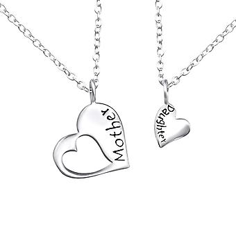 Mother And Daughter Necklace Set - 925 Sterling Silver Plain Necklaces - W30448X