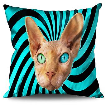 Sphynx Kitty Cute Eye Linen Cushion 30cm x 30cm | Wellcoda