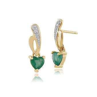 Jugendstil Herz Smaragd & Diamant Tropfen Ohrringe in 9ct Gelbgold 8719