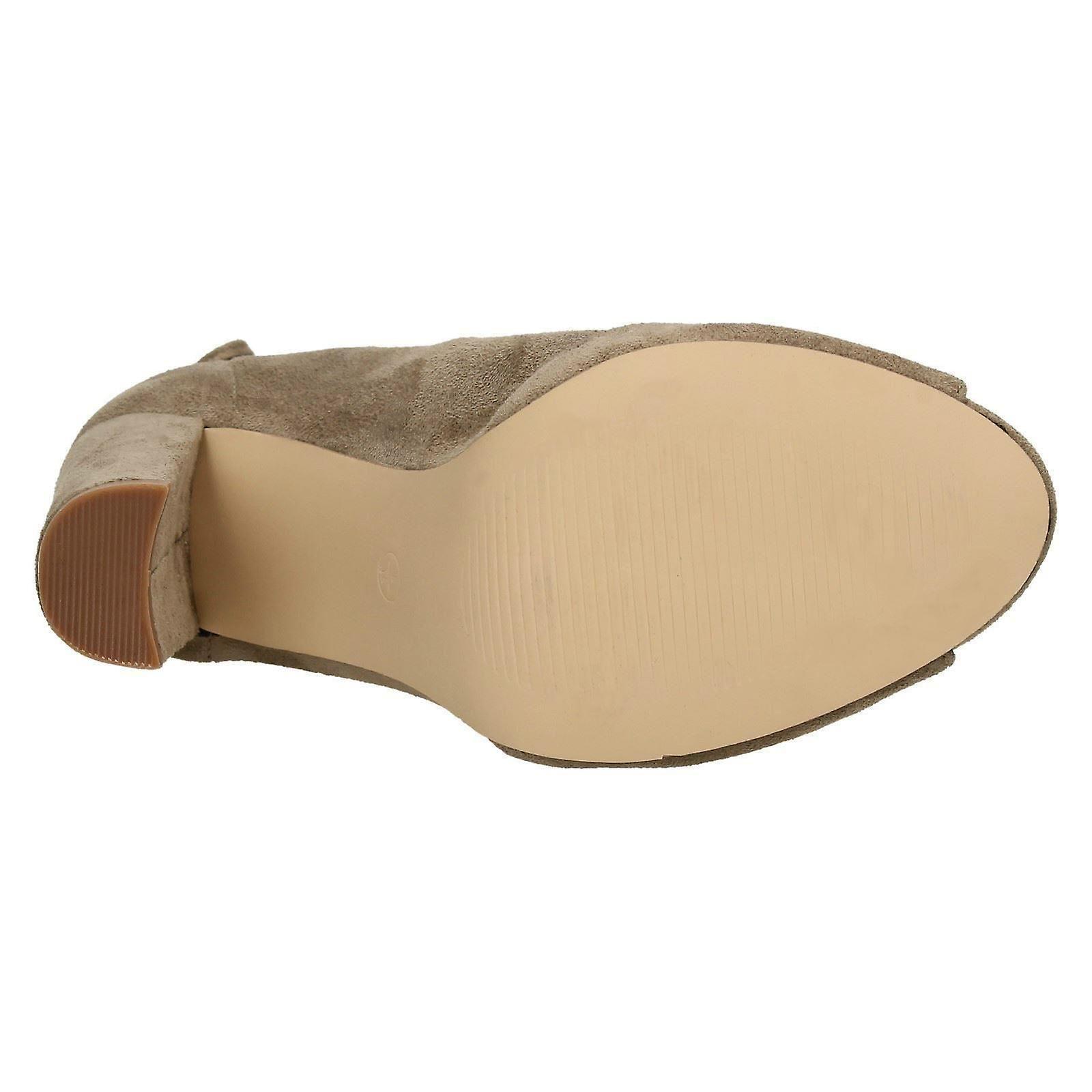 Ladies Spot On Peep Toe Ankle Boots F10724 bmCiM