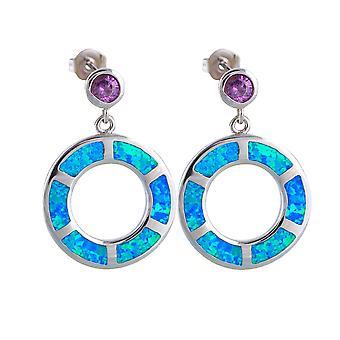 Brincos mulher balançando violeta cristal prata banhado círculos e opala