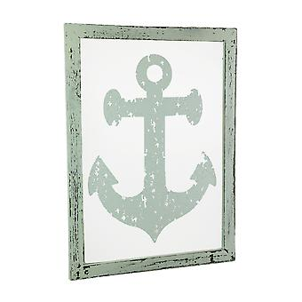 Rustic White Nautical Anchor On Glass Wall Hanging