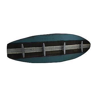 Retro Wooden Surfboard Wall Hanging w/Cleat Hooks