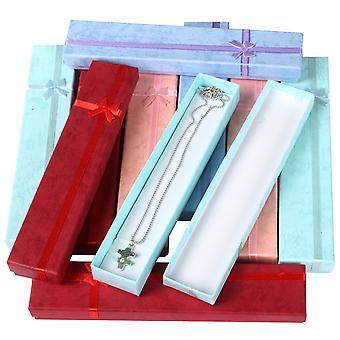 TRIXES 10 x elegancji i luksusu długi prostokątny naszyjnik pudełeczka
