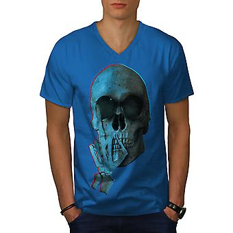 Middle Finger Funy Men Royal BlueV-Neck T-shirt   Wellcoda