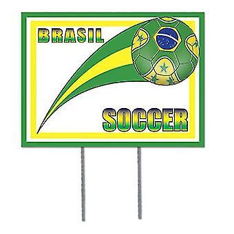 Brasilien fotboll trädgård tecken
