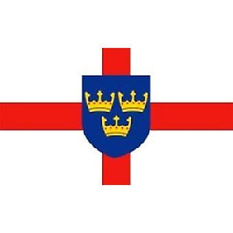 East Anglia vlag 5 ft x 3 ft met oogjes voor verkeerd-om