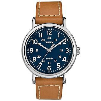 Timex Mens Weekender Tan lederen riem Blue Dial TW2R42500D7PF Watch
