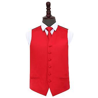 Czerwona prosta satyna kamizelka ślubna i& Zestaw krawatów